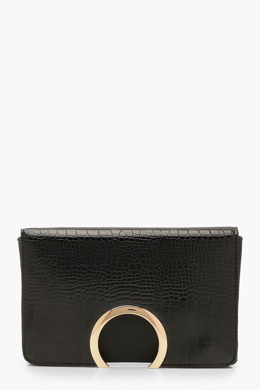 boohoo Womens Croc Metal Circle Clutch Bag With Chain - Black - One Size, Black