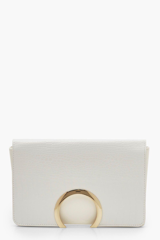 boohoo Womens Croc Metal Circle Clutch Bag With Chain - White - One Size, White
