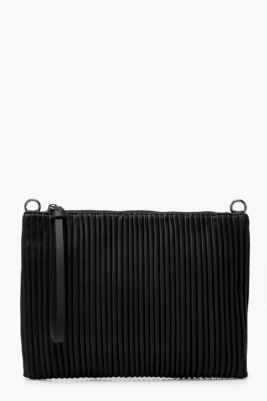 boohoo Womens Pleated Pu Zip Top Clutch Bag - Black - One Size, Black