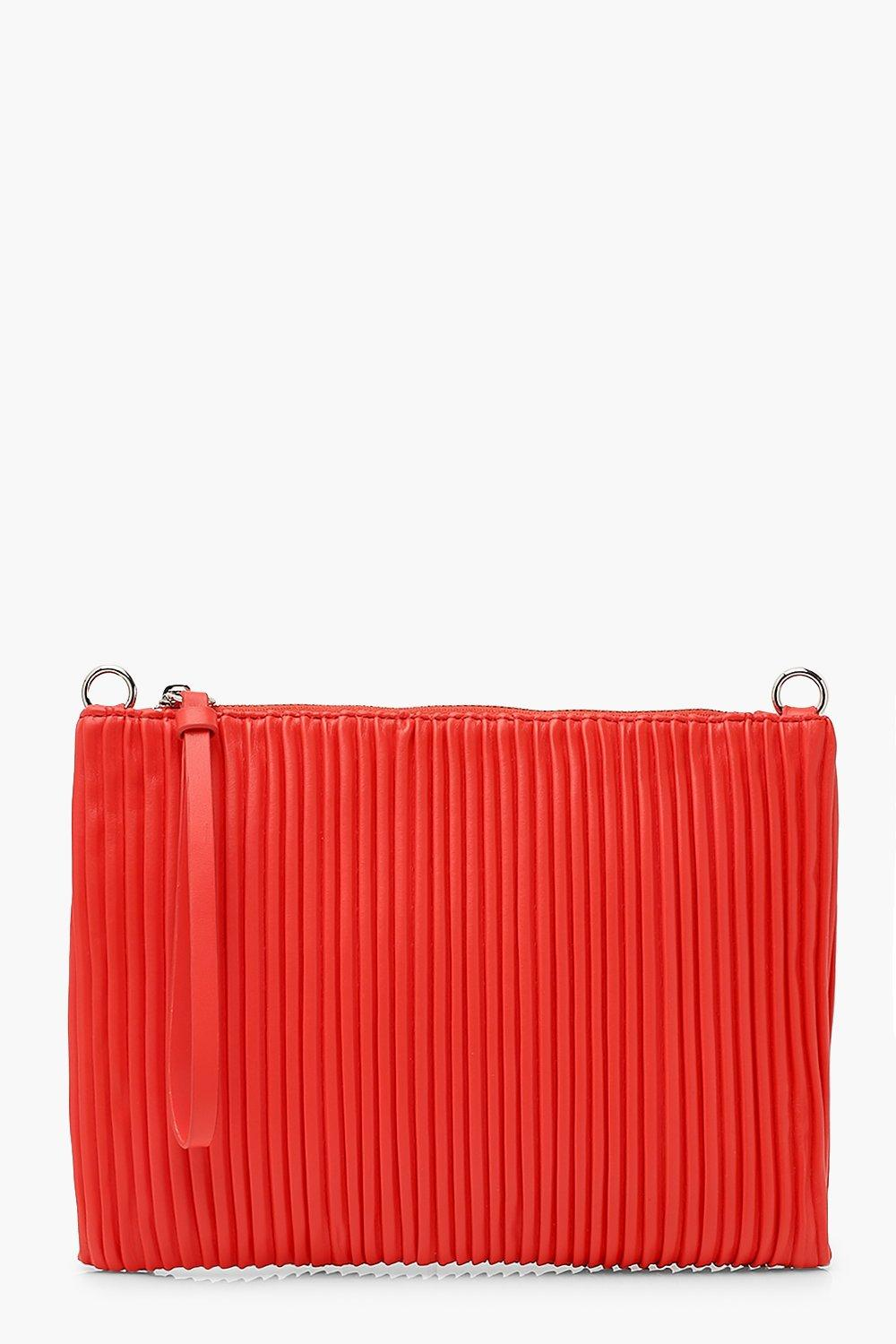 boohoo Womens Pleated Pu Zip Top Clutch Bag - Red - One Size, Red