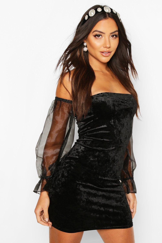 Womens Schulterfreies Minikleid aus Velours mit Ärmeln aus Organza - schwarz - 34, Schwarz - Boohoo.com