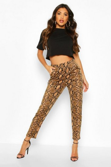 Snake Print Tapered Leg Trouser