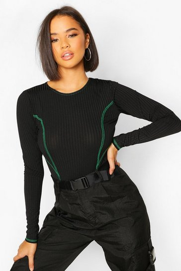 Forest Contrast Stitch Long Sleeve High Rise Bodysuit