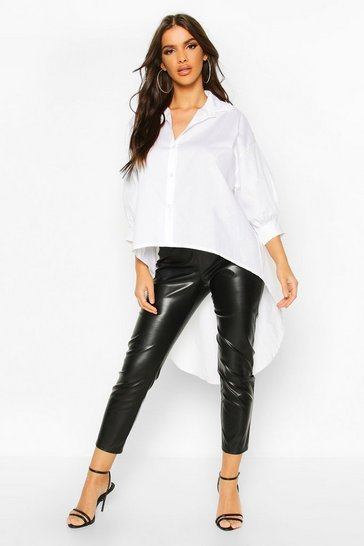 White Oversized Dip Hem Cotton Shirt