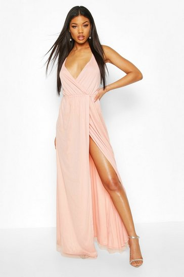 Apricot Plunge Wrap Sequin Maxi Dress