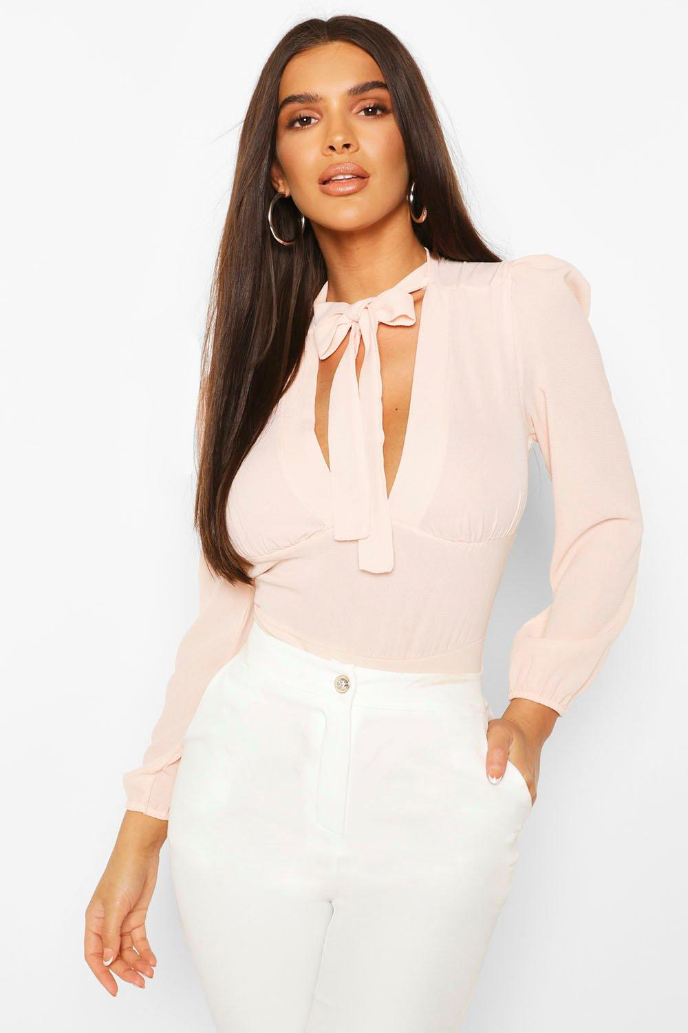boohoo Womens Pussybow V Neck Blouse Bodysuit - Pink - 8, Pink