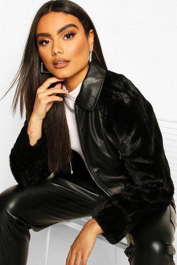 Black Leather Look Faux Fur Sleeve Bomber Jacket