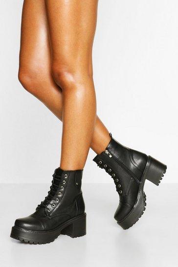 Black Loop Back Block Heel Lace Up Hiker Boots