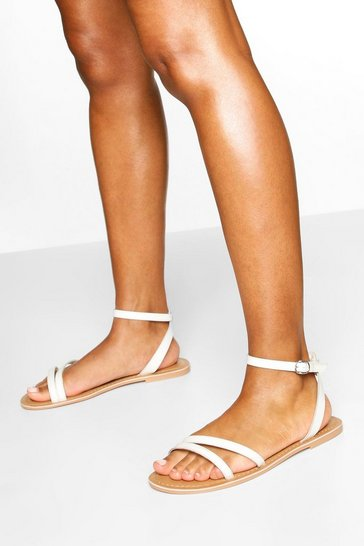 White Wide Fit Leather 2 Part Sandals
