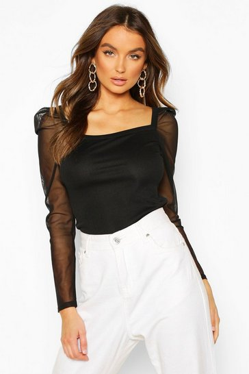 Black Rib Mesh Top With Square Neck