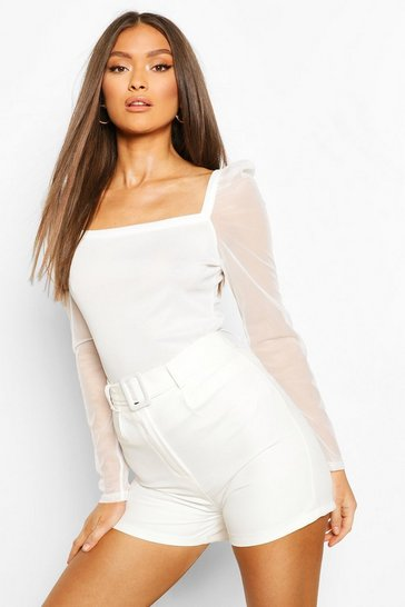 White Rib Mesh Top With Square Neck