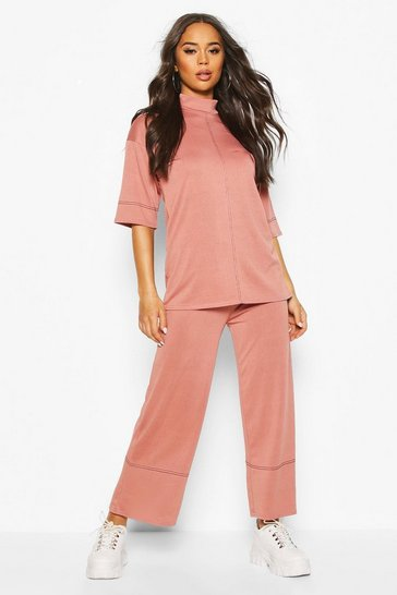 Rose High Waisted Culottes With Contrast Stitching