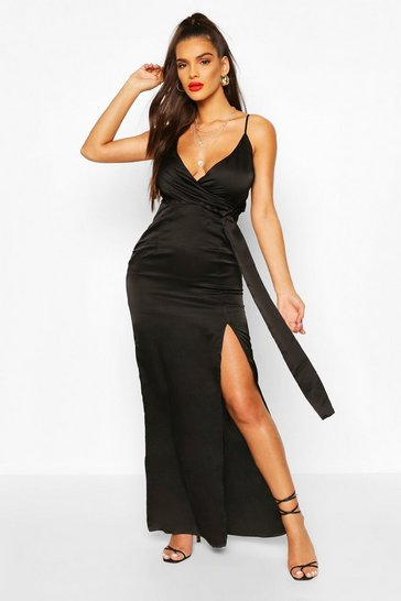 Black Satin Wrap Maxi Dress