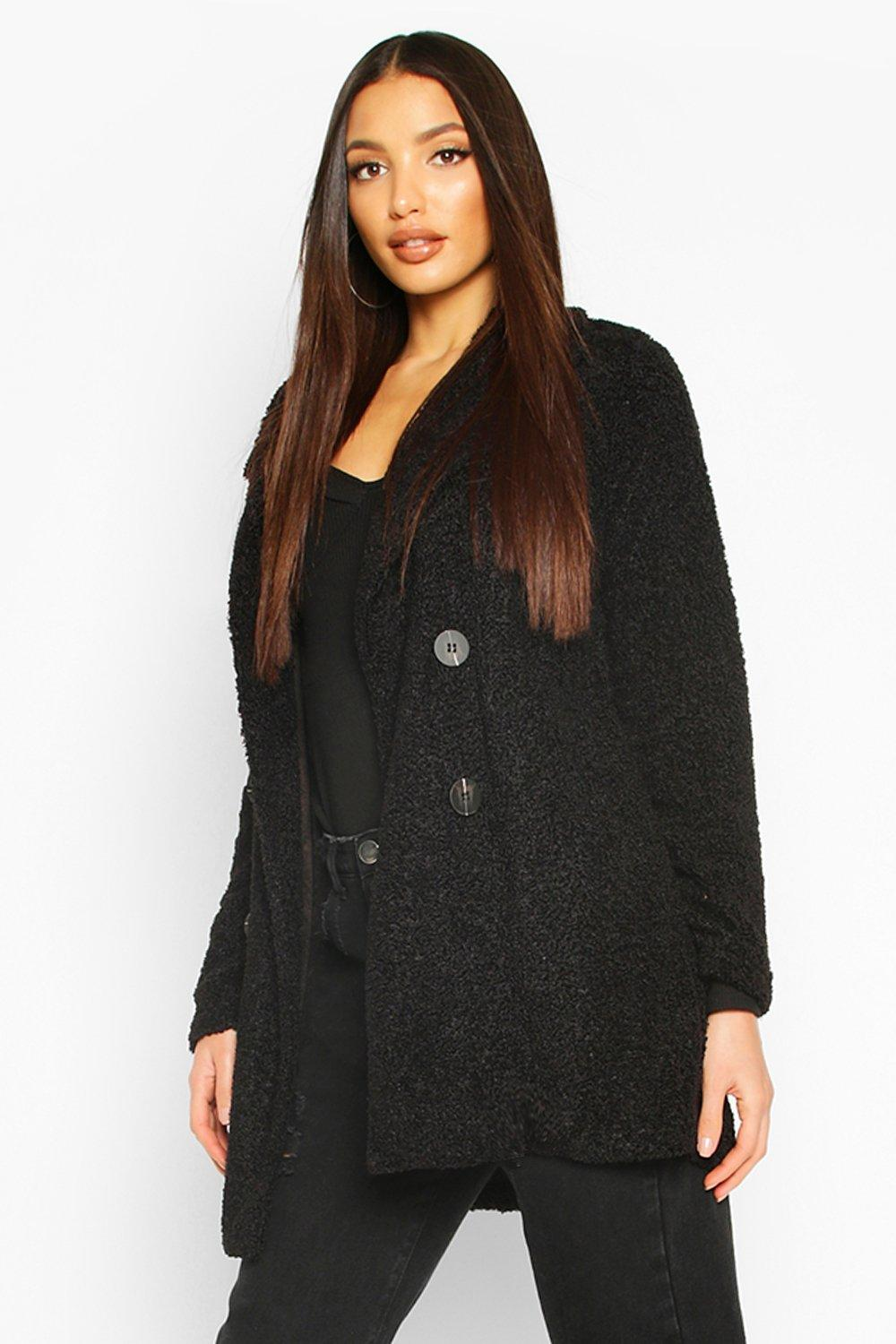 boohoo Womens Teddy Faux Fur Coat - Black - 10, Black