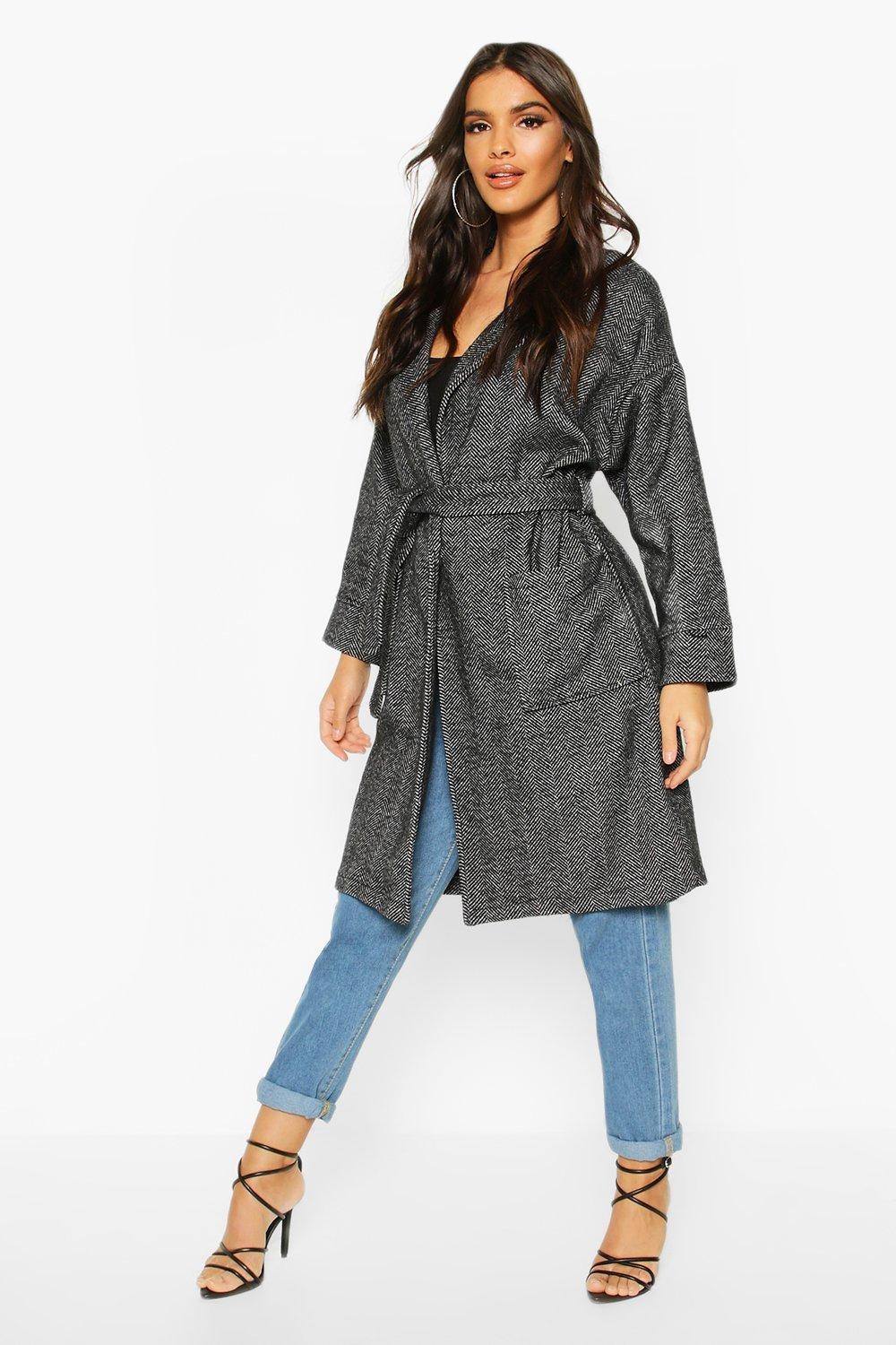 boohoo Womens Herringbone Belted Wool Look Coat - Grey - 14, Grey