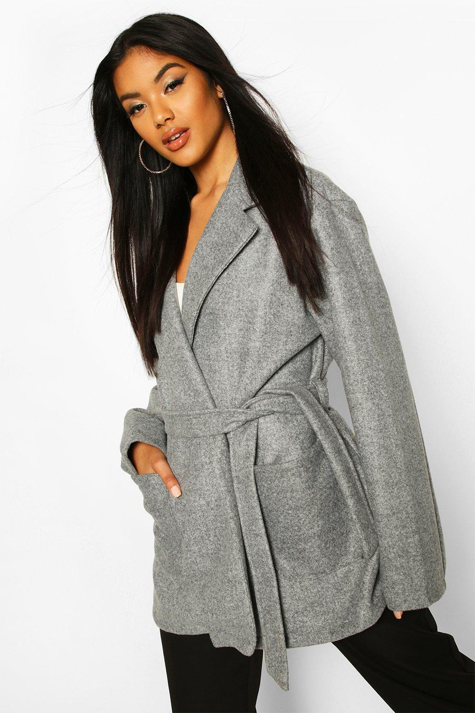 boohoo Womens Marled Wool Look Belted Coat - Grey - 12, Grey
