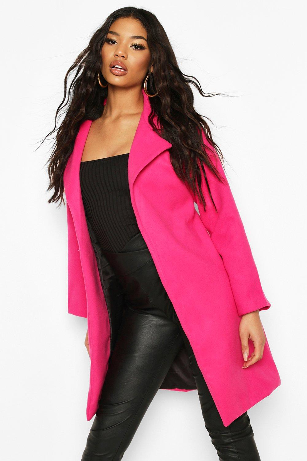 boohoo Womens Collared Wool Look Coat - Pink - 12, Pink