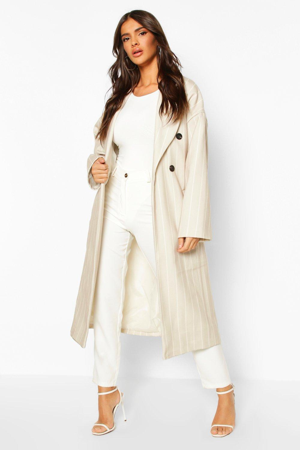 boohoo Womens Stripe Belted Wool Look Longline Coat - Beige - 8, Beige