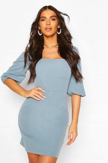 Blue Puff Sleeve Square Neck Mini Dress
