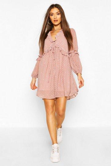 Pink Paisley Print Ruffle Smock Dress