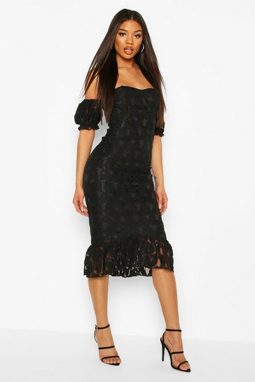 Black Cupped Frill Hem Lace Midi Dress