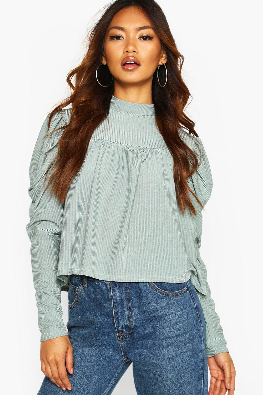 boohoo High Neck Puff Sleeve Smock Top - Duck Egg - 10, Duck Egg