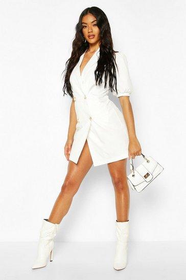 White Puff Sleeve Blazer Dress