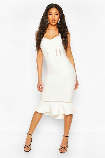 White Premium Sculpting Bandage Mesh Insert Frill Hem Midi Dress