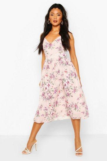 Pink Floral Print Bow Back Chiffon Midi Dress