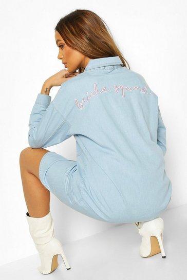 Mid blue Bride Squad Embroidered Denim Shirt Dress