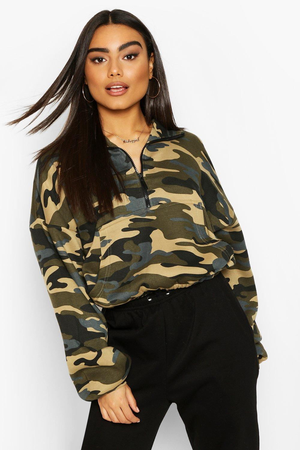 boohoo Womens Camo Zip Oversized High Neck Sweat - Green - 16, Green