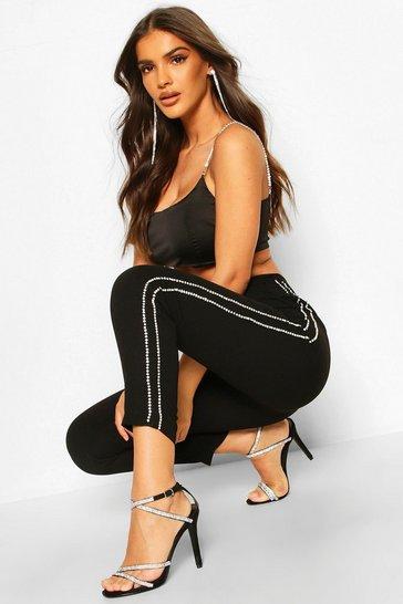 Black Tailored Diamante Trim Slim Fit Trousers