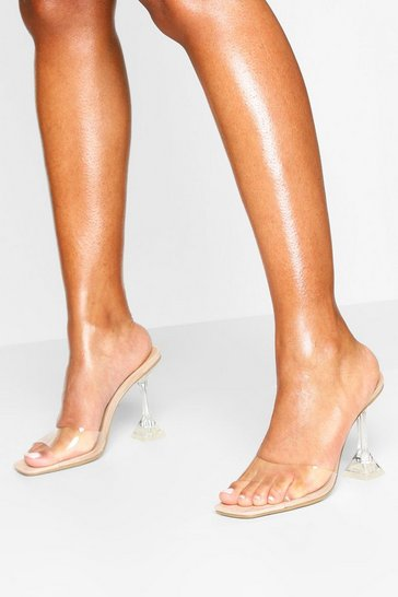 Nude Clear Heel Square Toe Mules