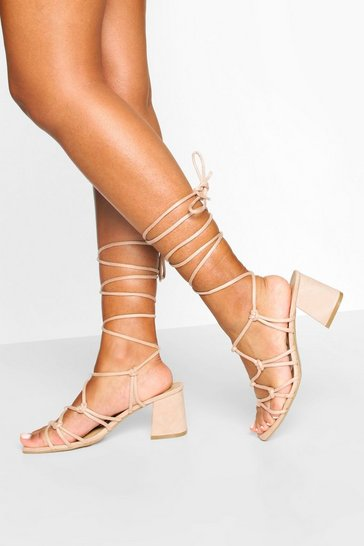 Nude Caged Ankle Tie Block Heel Sandals