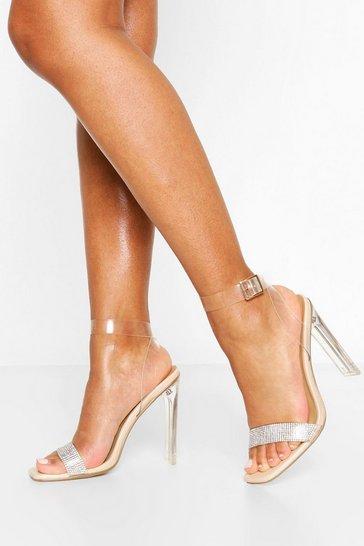 Nude Clear Flat Heel Diamante 2 Parts