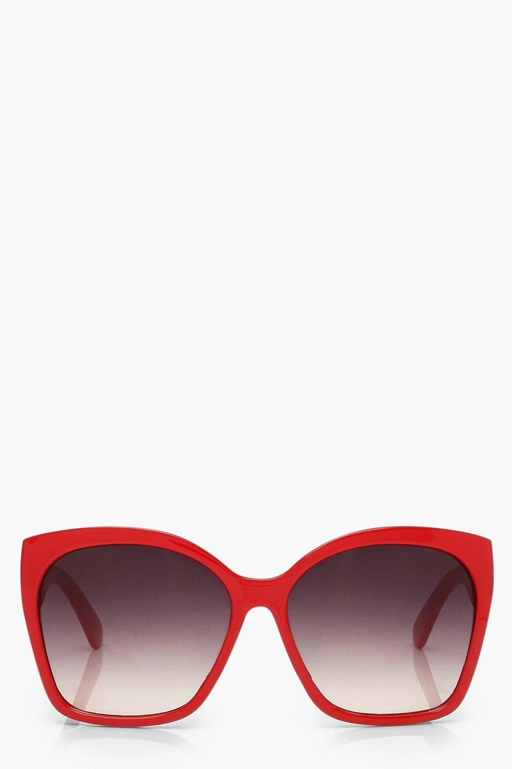 boohoo Womens Oversized Sunglasses - Red - One Size, Red