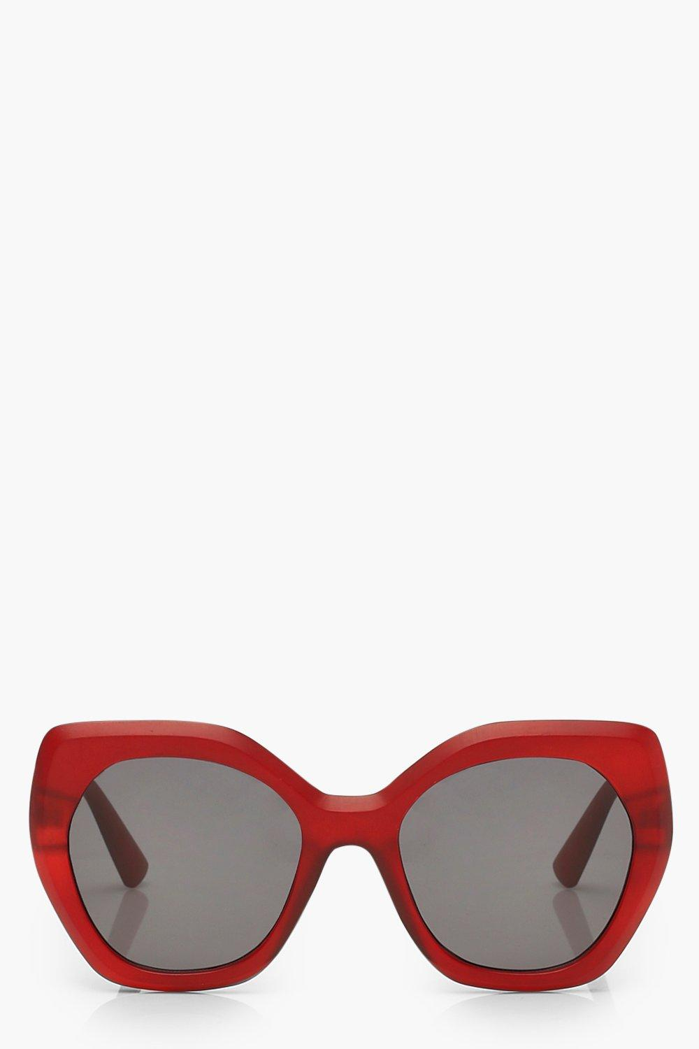 boohoo Womens Frosted Oversized Sunglasses - Red - One Size, Red