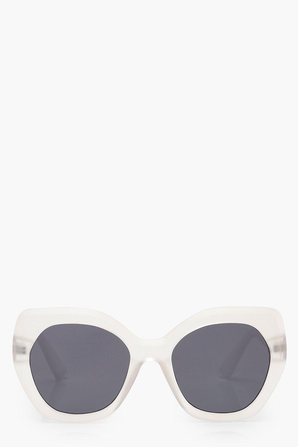 boohoo Womens Frosted Oversized Sunglasses - White - One Size, White