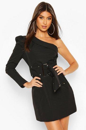 Black One Shoulder Stud Belted Mini Dress
