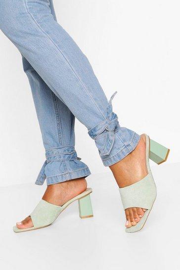 Sage Square Toe Block Heel Mules