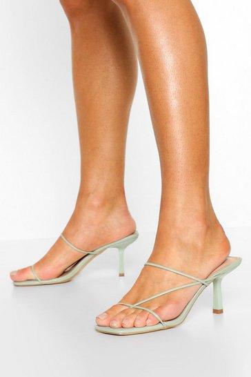 Nude Skinny Strap Low Heel Mules