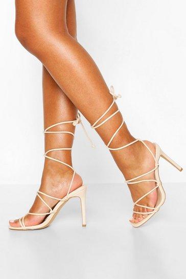 Nude Strappy Tie Stiletto Sandals