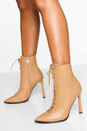 Camel Lace Up Shoe Boots
