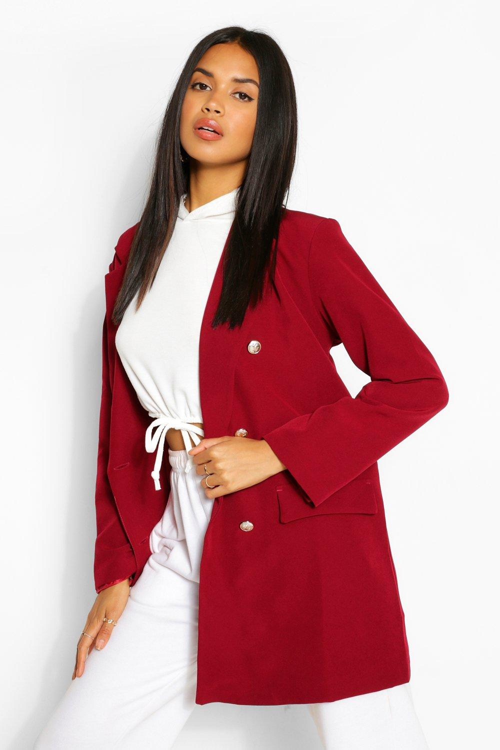 boohoo Womens Oversize Double Breasted Blazer - Red - 12, Red