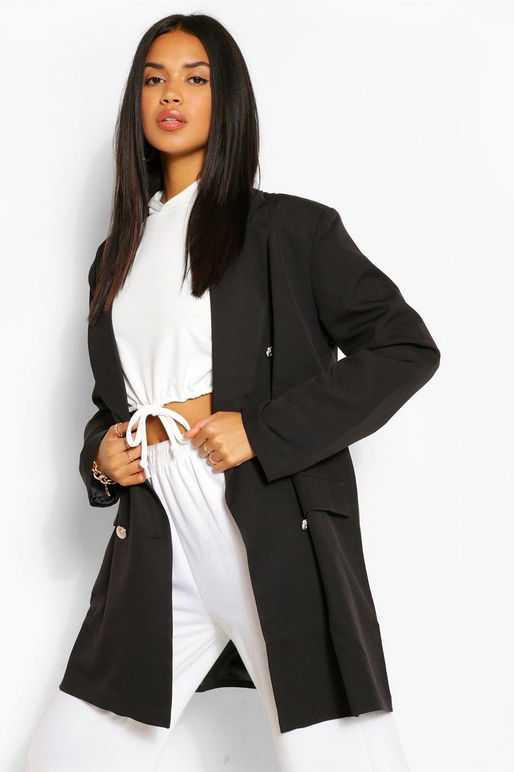 boohoo Womens Oversize Double Breasted Blazer - Black - 12, Black