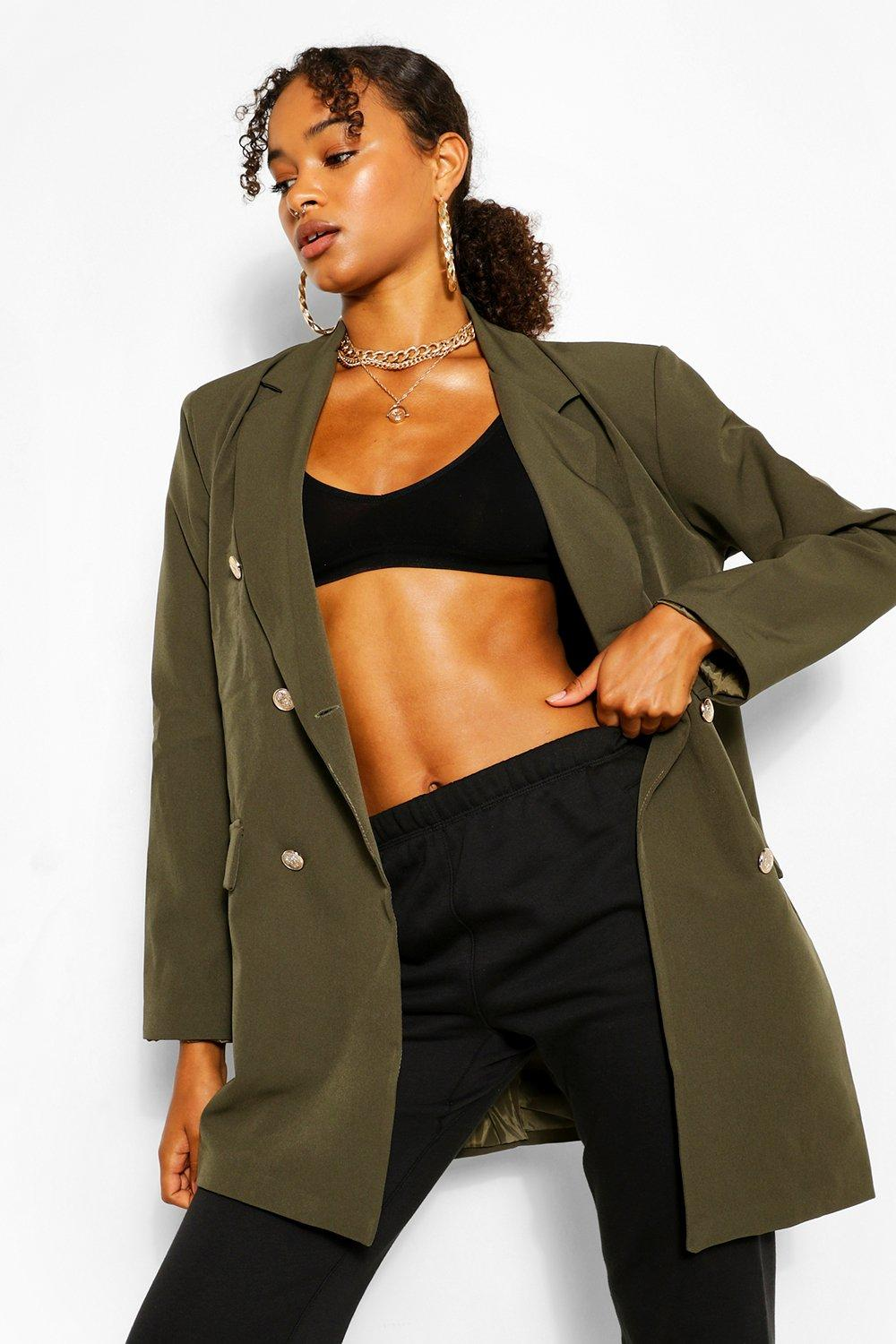 boohoo Womens Oversize Double Breasted Blazer - Green - 10, Green