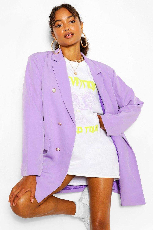boohoo Womens Oversize Double Breasted Blazer - Purple - 8, Purple