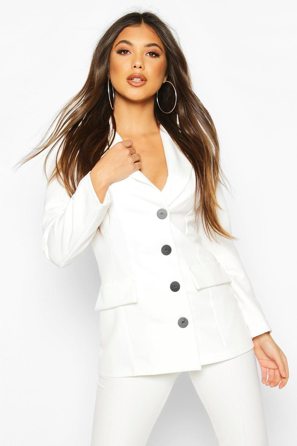boohoo Button Down Fitted Blazer - White - 14, White