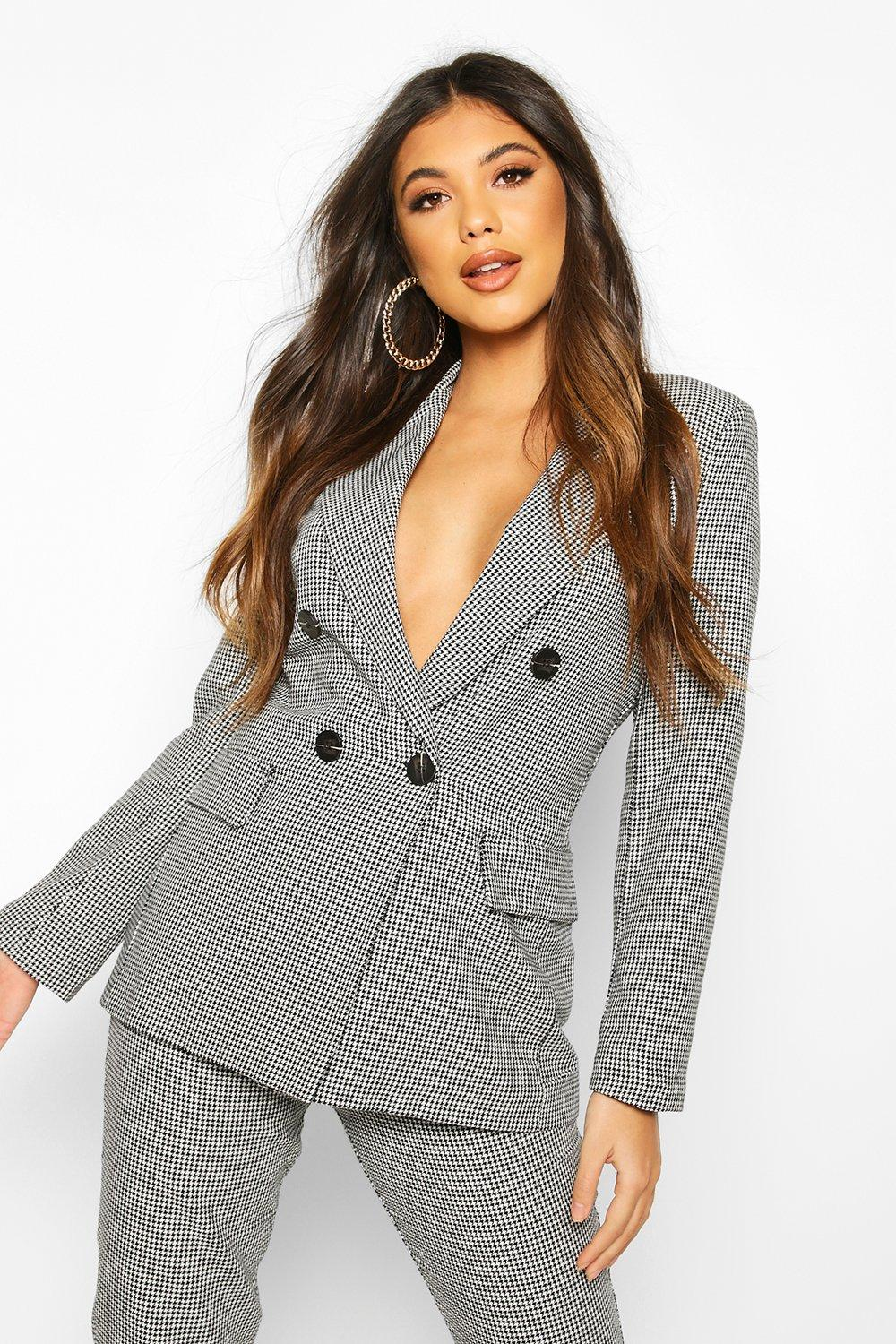 boohoo Double Breasted Dogtooth Blazer - Black - 12, Black