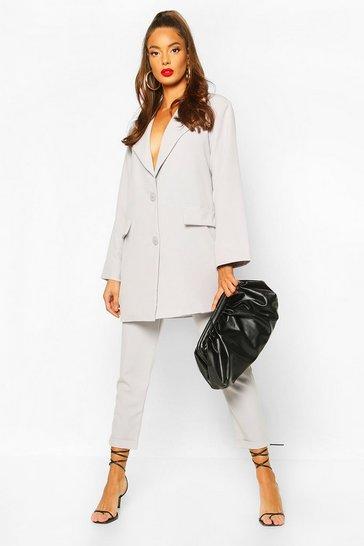 Grey Turn Up Self Belt Tailored Trouser